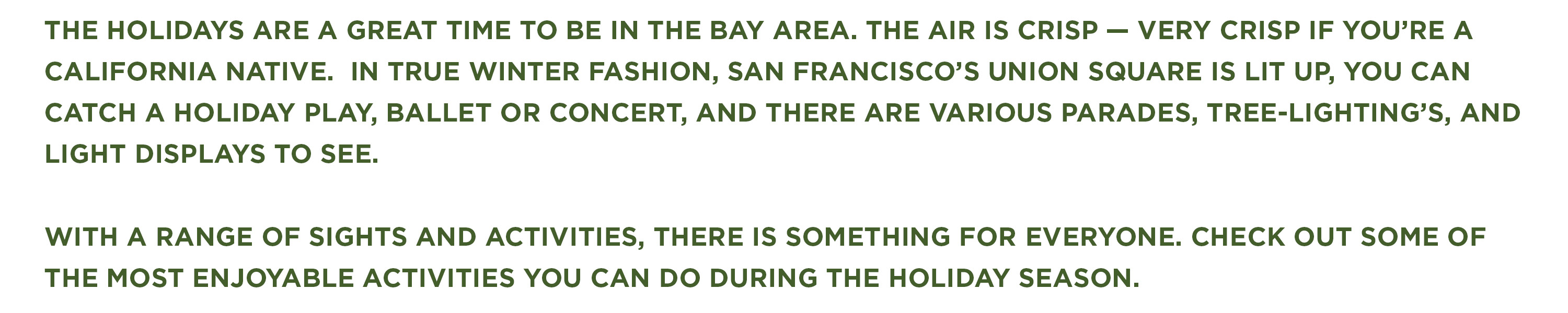 4 Can't Miss Holiday Events in the Bay Area Blog - header text